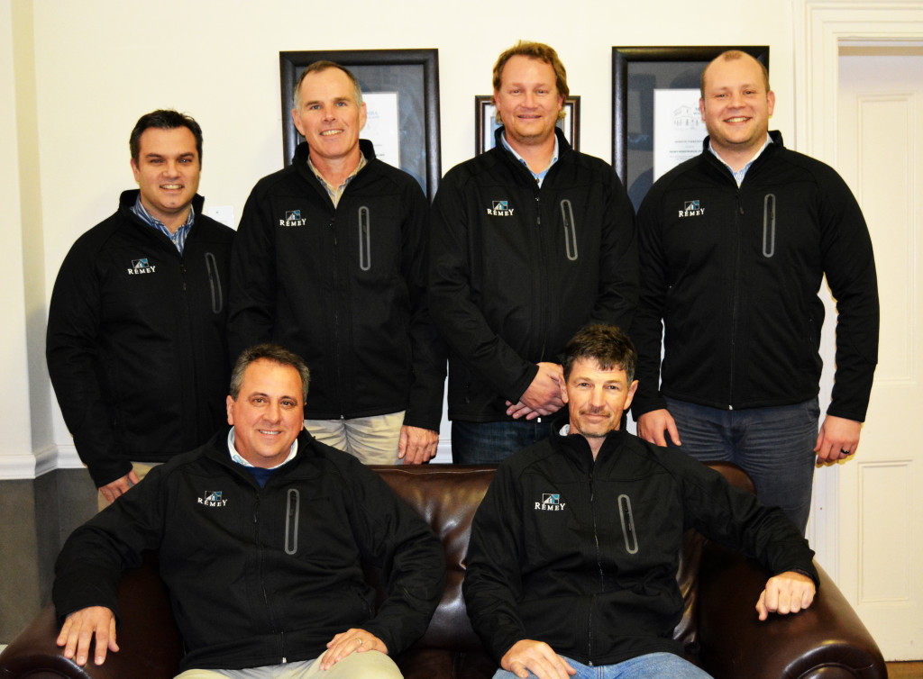 The Remey Construction Team Front row: Johan Meyer (CEO), Dawid Adendorff (Contracts Director) Back row (from left): DW Brink (Estimator), Dawie Aucamp (Financial Manager), Charl Bruce (Contracts Manager), Stanley Stevens (Snr Quantity Surveyor)
